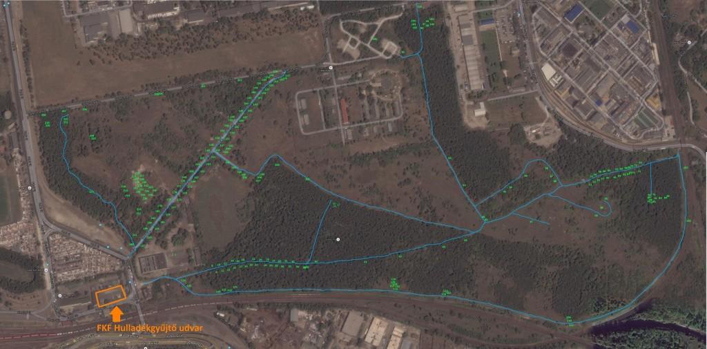 A Terebesi erdő hulladéklelőhelyei számmal ellátva.