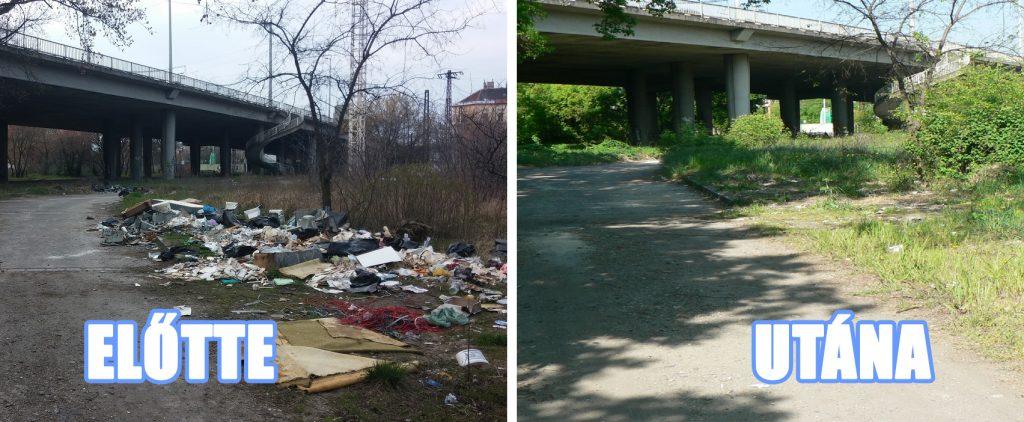 A kép a Hulladékvadász Hungária körút híd alatti bejelentése előtti és utáni állapotot mutatja. Fotó: hulladekvadasz.hu