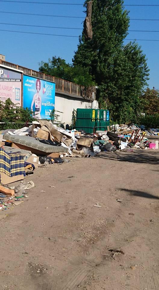 A Bozsik stadion melletti Puskás Ferenc utca szelektív hulladéksziget és környezete. Fotó: Hulladekvadasz.hu