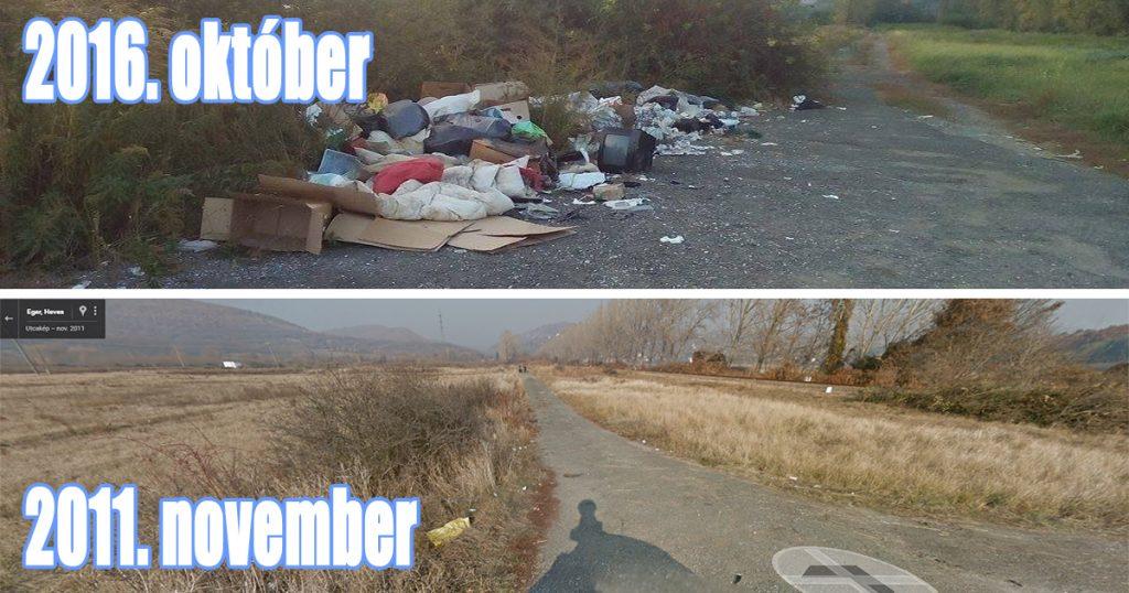 Eger - A bejelentés helyszíne évek óta hulladéklerakatnak használják illetéktelenek. Fotó: hulladekvadasz.hu / Google Maps