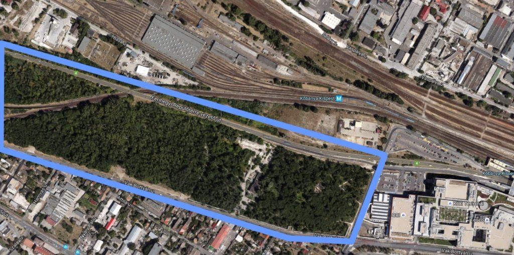A kispesti Sherwood kiserdő közvetlenül a Köki mellett húzodik. Fotó: Google Maps