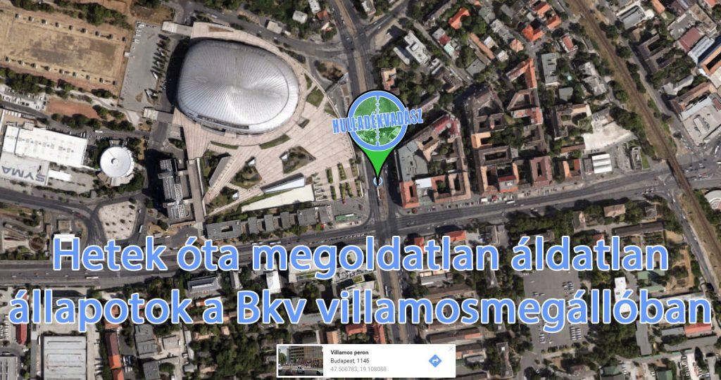 BKV villamosmegállóját a képen jelölt helyen a Stadionoknál. Fotó: Google Maps