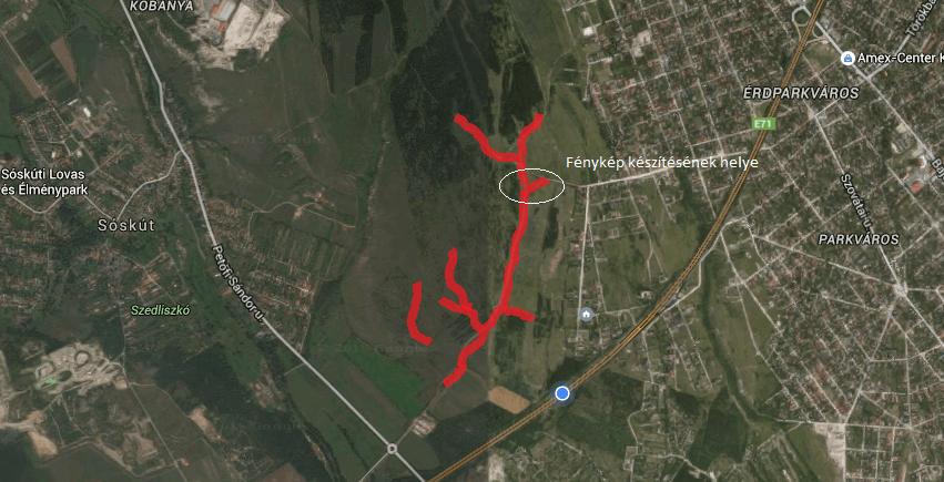 A bejelentő által feltérképezett illegális hulladéklerakásokkal terhelt terület Érd és Sóskút határán. Fotó: hulladekvadasz.hu