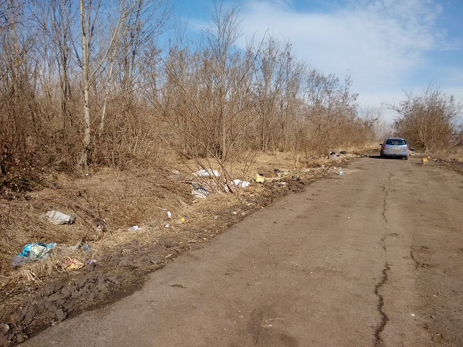 33-as útfél Poroszló mellett egy jellemzően külterületi szemetes útszakasz. / Fotó: hulladekvadasz.hu