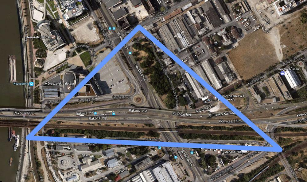 A hulladékháromszög: Közvágóhíd, Vágóhíd út, Gubacsi út. / Fotó: Google Maps