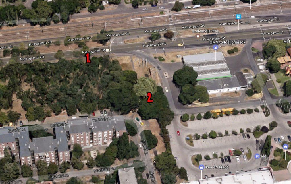 OMV töltőállomás A szinte egy területen lévő két hulladéklerakás. Fotó: Google Maps