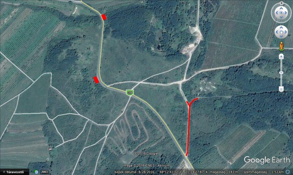 A bejelentő által küldött térkép a lerakások megjelölésével. / Fotó: Google Earth