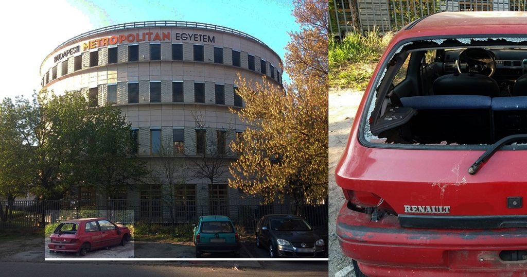 Metropolitan Egyetem és az autóroncs. / Fotó: hulladekvadasz.hu