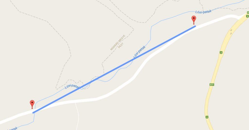 A bejelentő által jelzett szennyezett szakasz. / Fotó: Google Maps