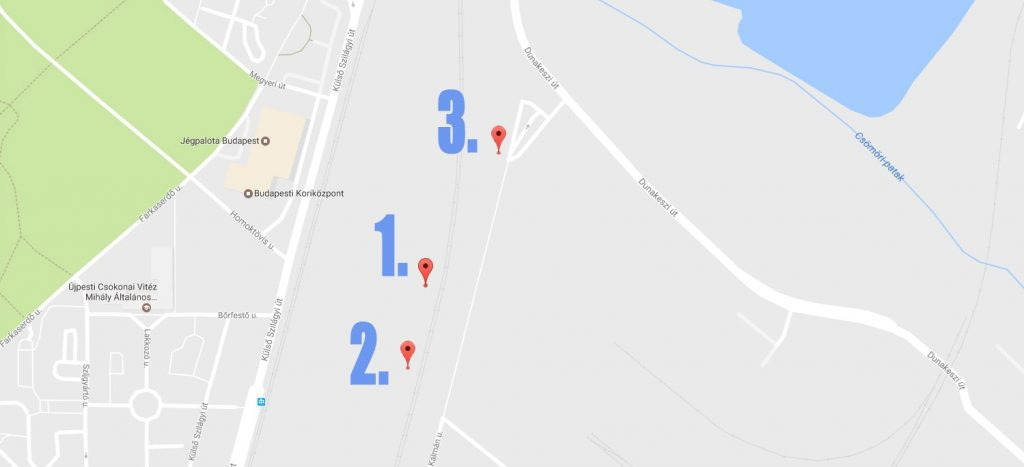 A helyszínek. / Fotó: Google Maps
