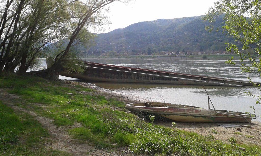 Uszály és csónak roncs Visegrád Dunapartján. / Fotó: hulladekvadasz.hu