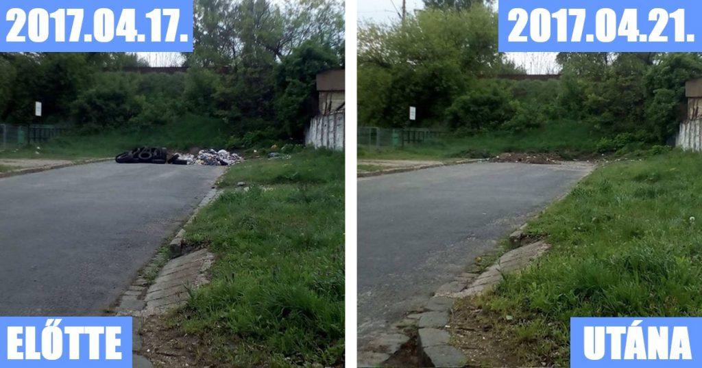 Kőbányai Önkormányzat A KŐKERT által megtisztított terület a Zách utcában. / Fotó: hulladekvadasz.hu