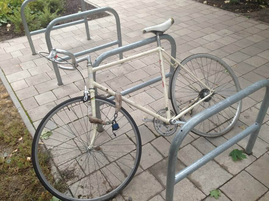 Biciklitároló Budapest - A lecsupaszított kerékpár. / Fotó: hulladekvadasz.hu