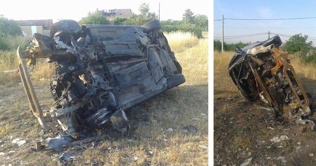 Felgyújtott autóroncs az érdi ugaron. / Fotó: hulladekvadasz.hu