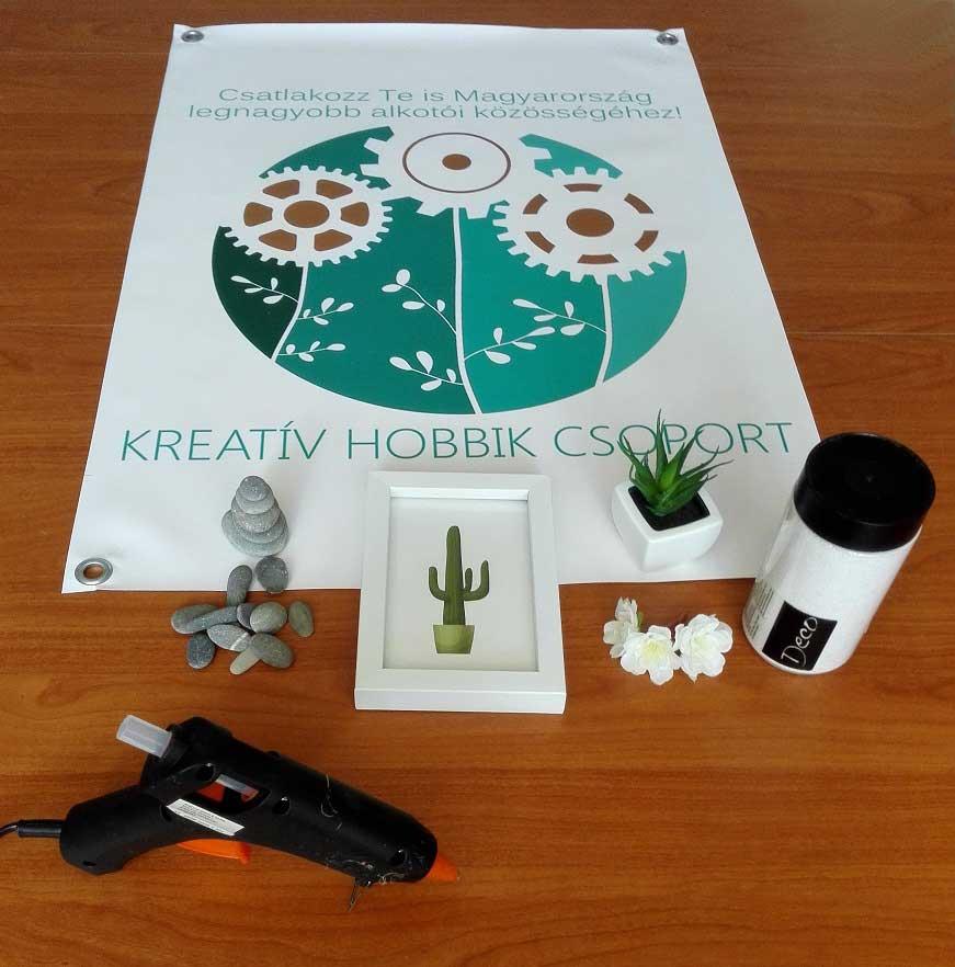 Mini zen kert készítéséhez szükséges hozzávalók. / Fotó: kreativhobbikcsoport.hu