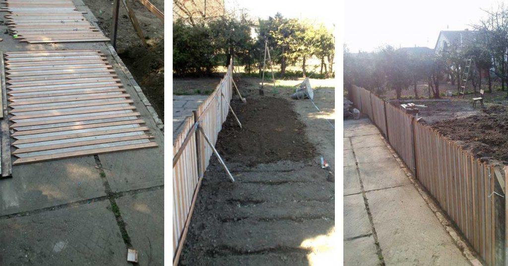 A kerítés paneljei és a már részben teljesen álló kerítés. / Fotó: hulladekvadasz.hu