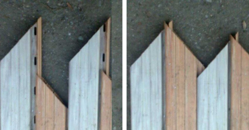 45 fokban is vághatjuk és összecsúsztatva esztétikusan cakkos lesz. / Fotó: hulladekvadasz.hu