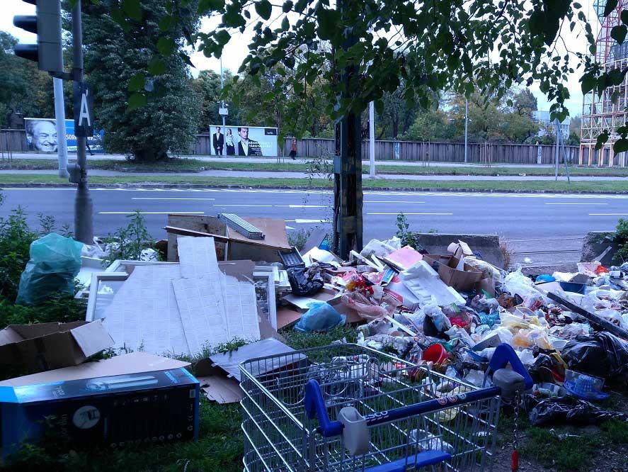 Jelenlegű állapotok a Kerepesi út 54-es szám előtt. / Fotó: hulladekvadasz.hu