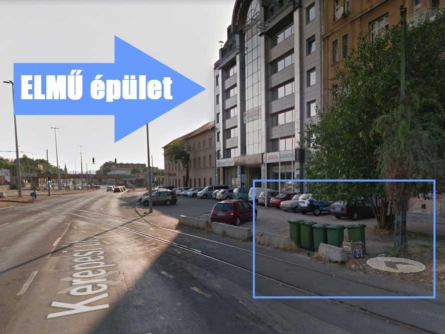Az ELMŰ épület és a hulladékelszállításra kijelölt terület, ami legtöbb esetben szemétdombként üzemel. / Fotó Google Maps
