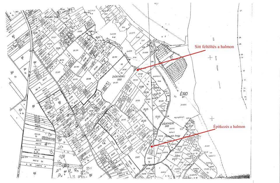 A bejelentőtől kapott térkép jelöli a két helyszínt, ahol a hulladéklerakatok találhatóak.
