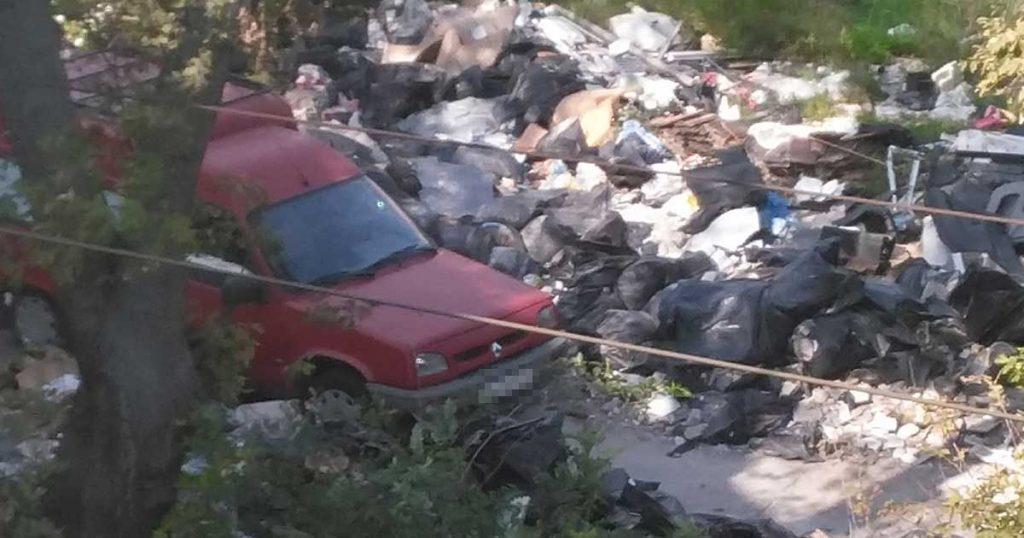 A szemétben szinte eltűnik az autó. Vajon a szemetelő észrevette, amikor fotózzák? / Fotó: hulladekvadasz.hu