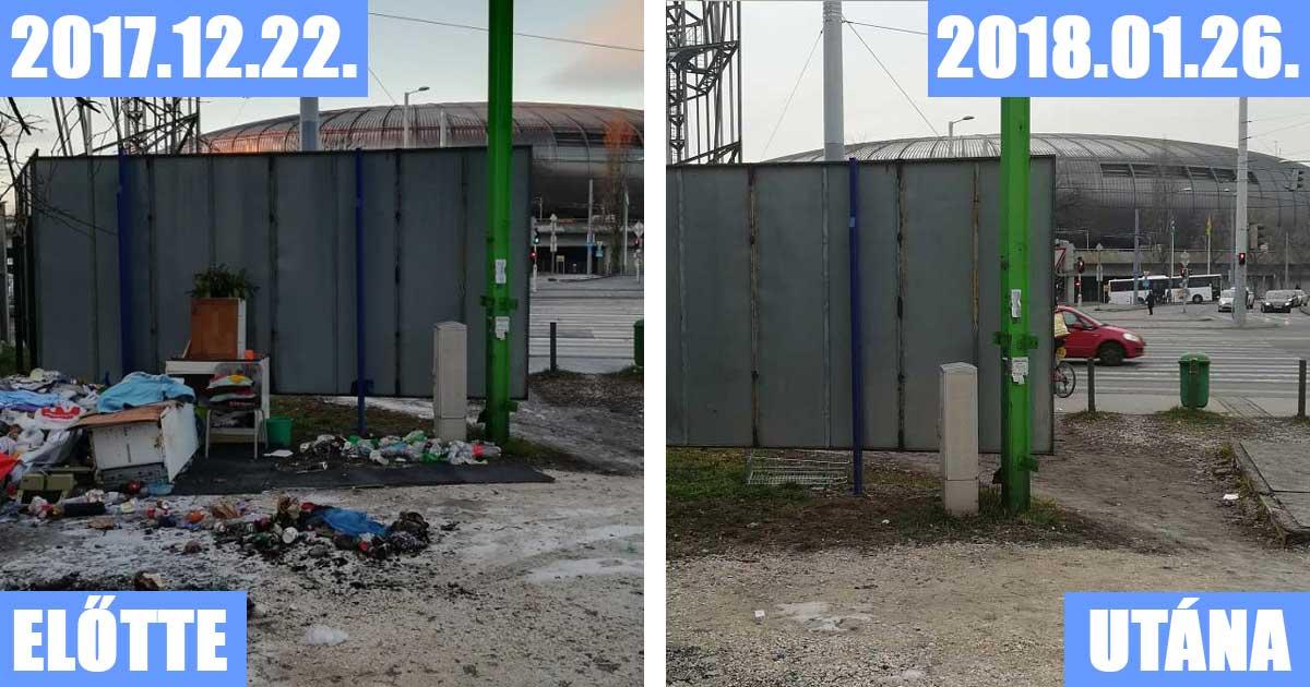 Bal oldalon: A Hungária körút - Stadionok helyszínéről érkezett bejelentés, jobb oldalon: 1 hónap múlva a megtisztított helyszín. / Fotó: hulladekvadasz.hu