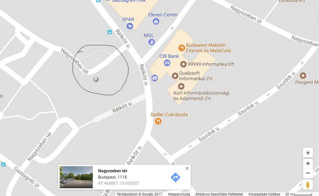 A bejelentő által bejelölt helyszín. / Fotó: Google Maps