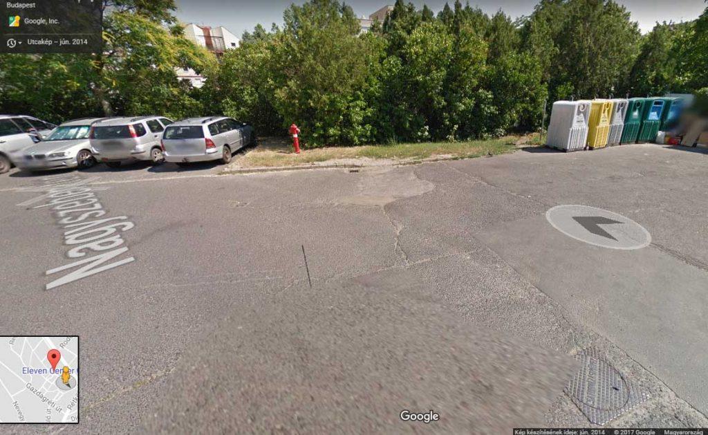 A kép jobb sarkában a volt szelektív hulladékgyűjtő sziget még 2014-ben. / Fotó: Google Maps