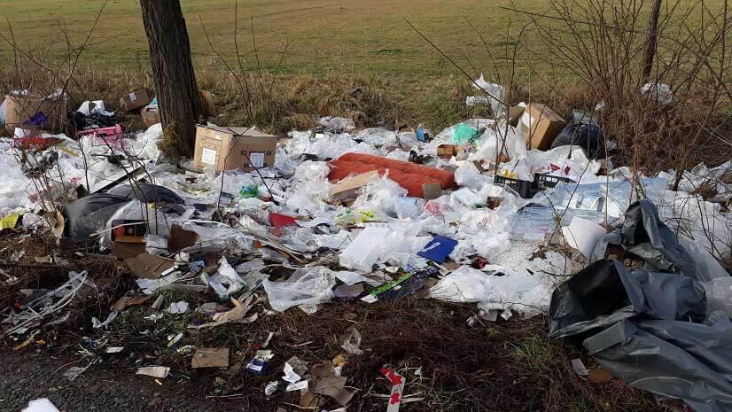 Háztartási azaz kommunális hulladék az utca fáinak a tövében. / Fotó: hulladekvadasz.hu