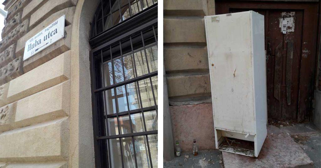XIII. kerületi Huba utca árválkodó hűtőszekrénye
