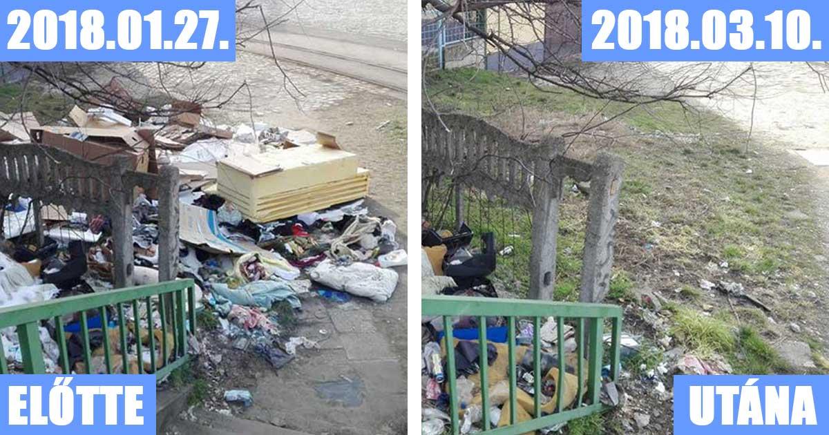 A hulladék nagy részét az illetékes önkormányzat elszállította, de a MÁV területeken ott maradt a szemét.