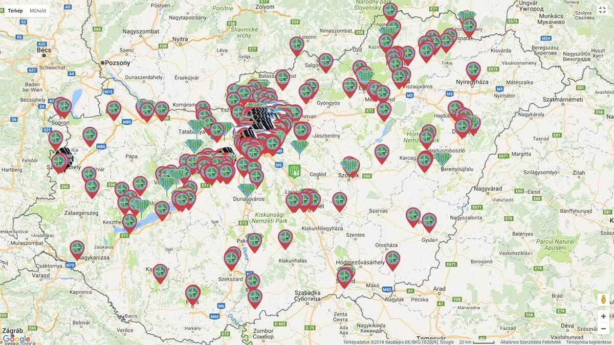A Hulladékvadászok Nagy-térképén elérhető és követhetőek a bejelentések megoldása. Képre kattintva a térkép elérhető.