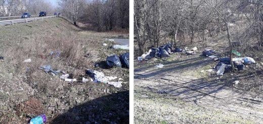 Szemetes Duna-part a 6-os út mentén