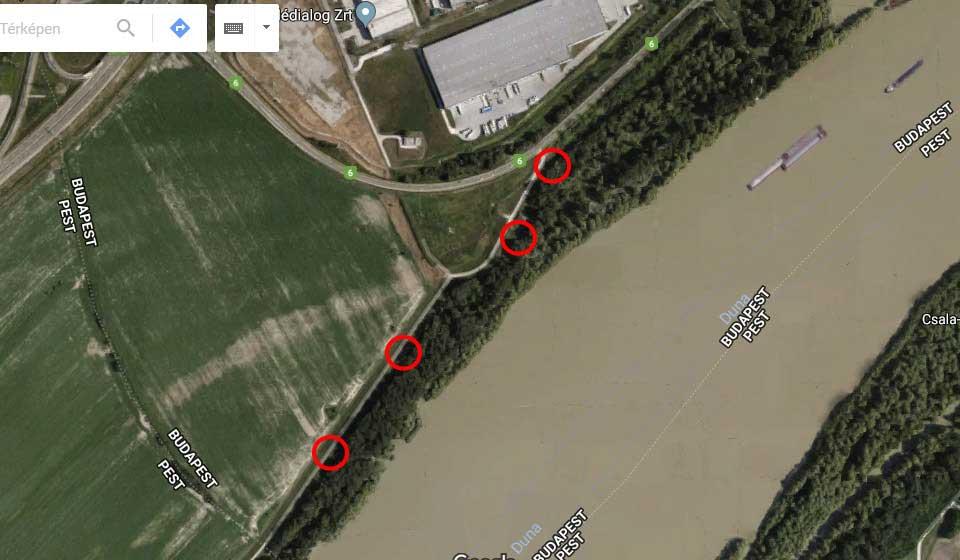 A bejelentő által küldött térkép, amin jelölte az illegális hulladéklerakások helyeit. / Fotó: Google Maps