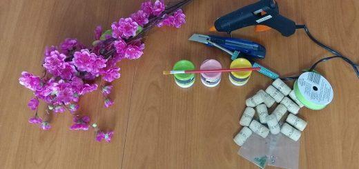 Tavaszt hozó koszorú boros dugóból #52 DIY