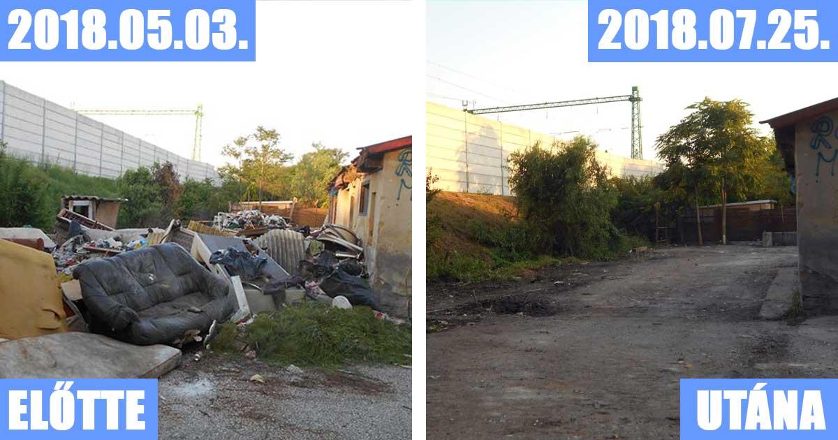 A Kócsag utcai állapotok a bejelentés alkalmával és annak megoldása közel három hónap után. / Fotó: hulladekvadasz.hu