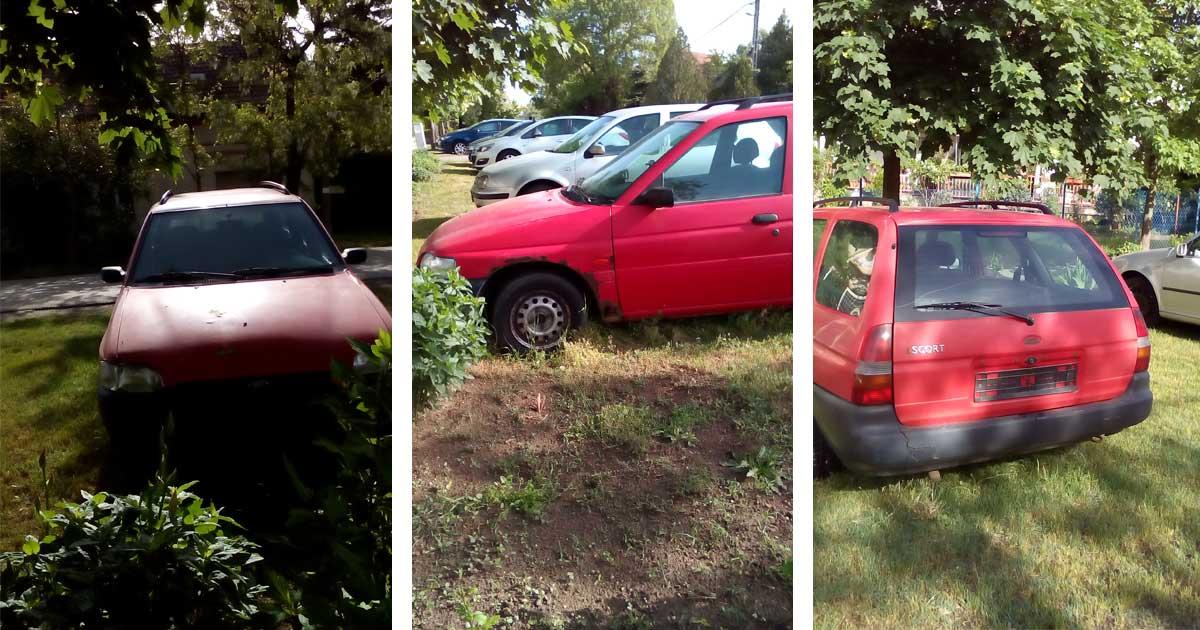 """Vazul utca autóroncsa már több, mint 10 napja """"pihen"""" ezen a helyen. / Fotó: hulladekvadasz.hu"""