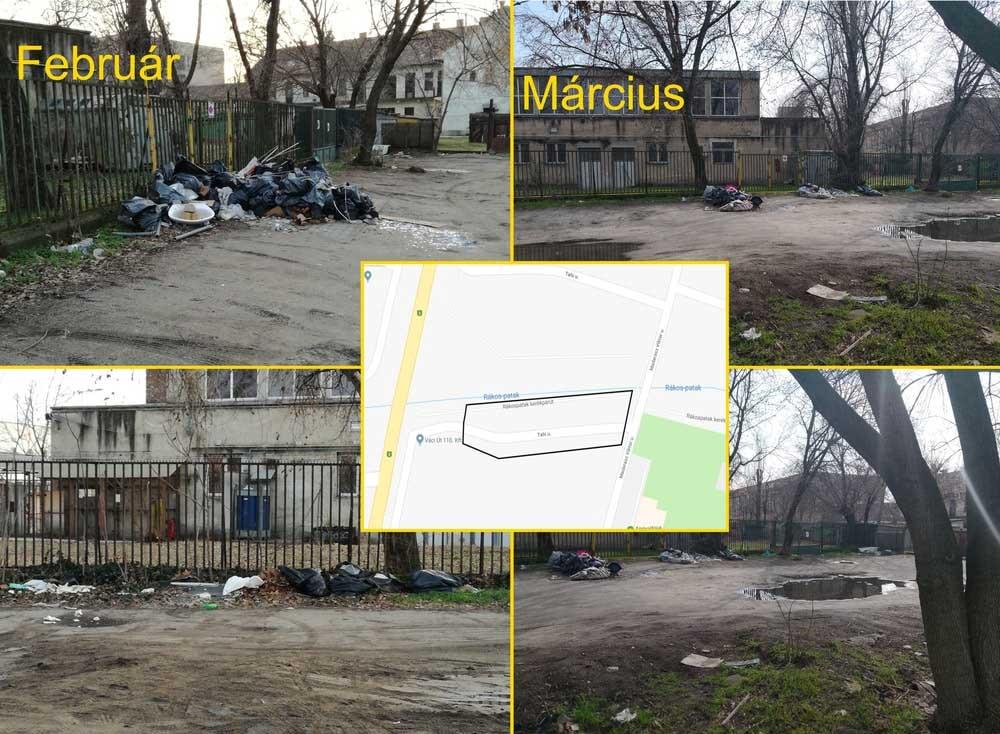 A bejelentő által szerkesztett kép a Tahi utca hulladékproblémájáról. / Fotó: hulladekvadasz.hu
