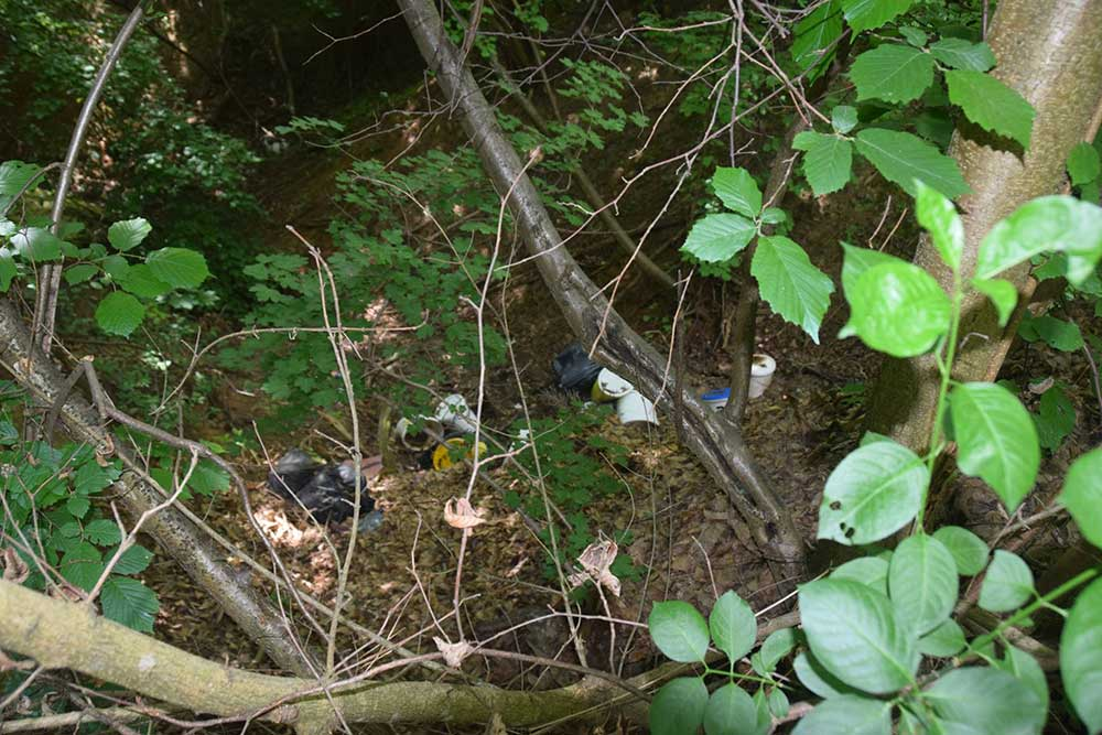 Vegyszeres, festékes vödrök az erdő árkába. / Fotó: hulladekvadasz.hu