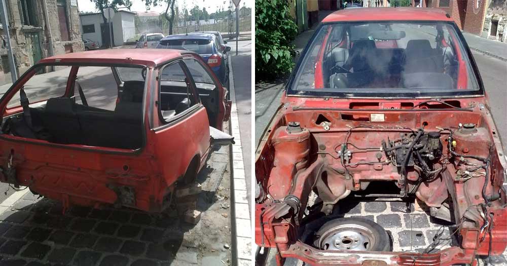 Az autótorzón nem hogy rendszám, de még motor sincsen. / Fotó: hulladekvadasz.hu