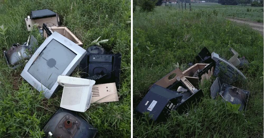 Bontott katód-sugárcsöves televíziókészülékek. Vajon kinek a műve? / Fotó: hulladekvadasz.hu