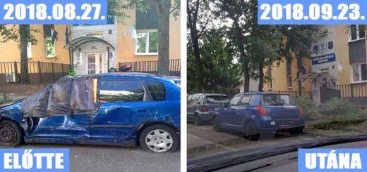 Zuglói Rendészeti Központ előtt egy autóroncs hever