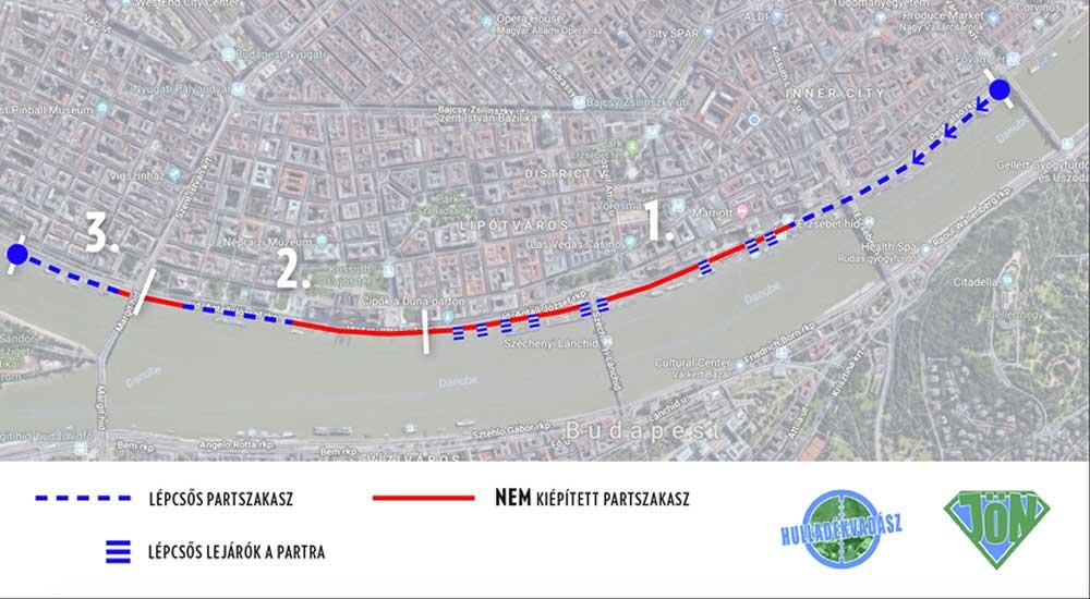 Az esemény Dunamentő útvonalának 3 szakasza.