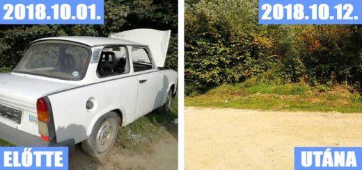Szétvert Trabant a soproni erdei ösvénynél
