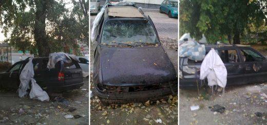 Golgota tér szétcsonkított autóroncsa