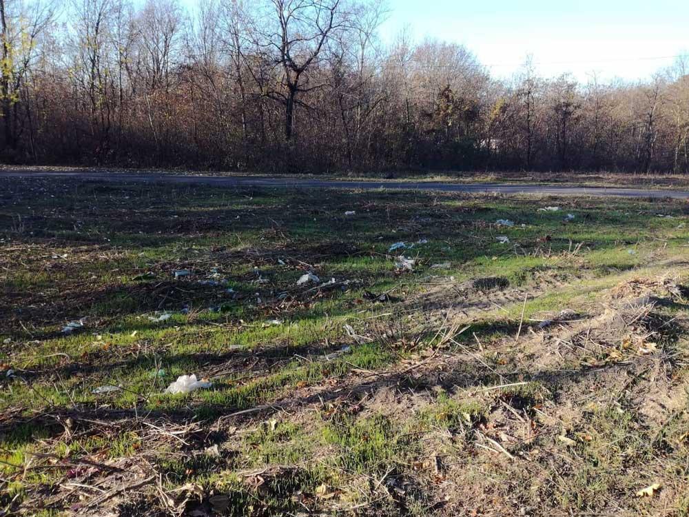 Dunaújváros szélén illegális hulladékmező.
