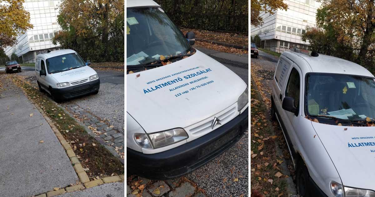 MÖTE állatmentő szolgálat rendszám nélküli autója