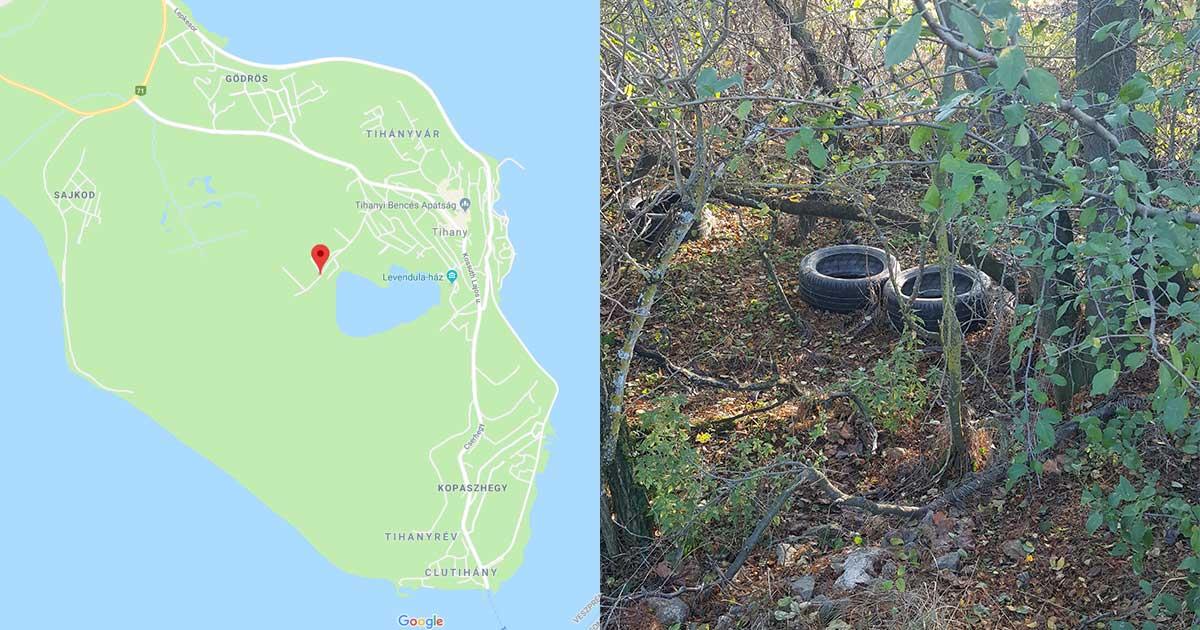 Bal oldal a Google térképén látható a helyszín és a Tihanyi félsziget, és a jobb oldal a hulladéklerakat.