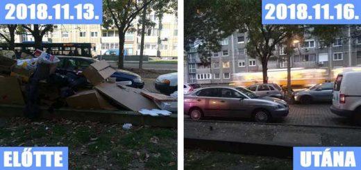 Kocsimagasságú csomagolási hulladéklerakat a Fehérvári úton