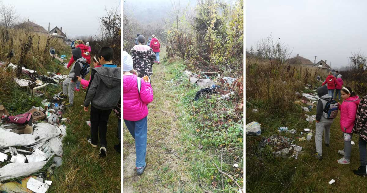 A diákok elképedve nézik a rohadó hulladékot.